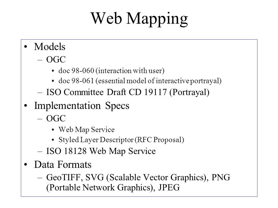 Web Mapping Models –OGC doc 98-060 (interaction with user) doc 98-061 (essential model of interactive portrayal) –ISO Committee Draft CD 19117 (Portrayal) Implementation Specs –OGC Web Map Service Styled Layer Descriptor (RFC Proposal) –ISO 18128 Web Map Service Data Formats –GeoTIFF, SVG (Scalable Vector Graphics), PNG (Portable Network Graphics), JPEG