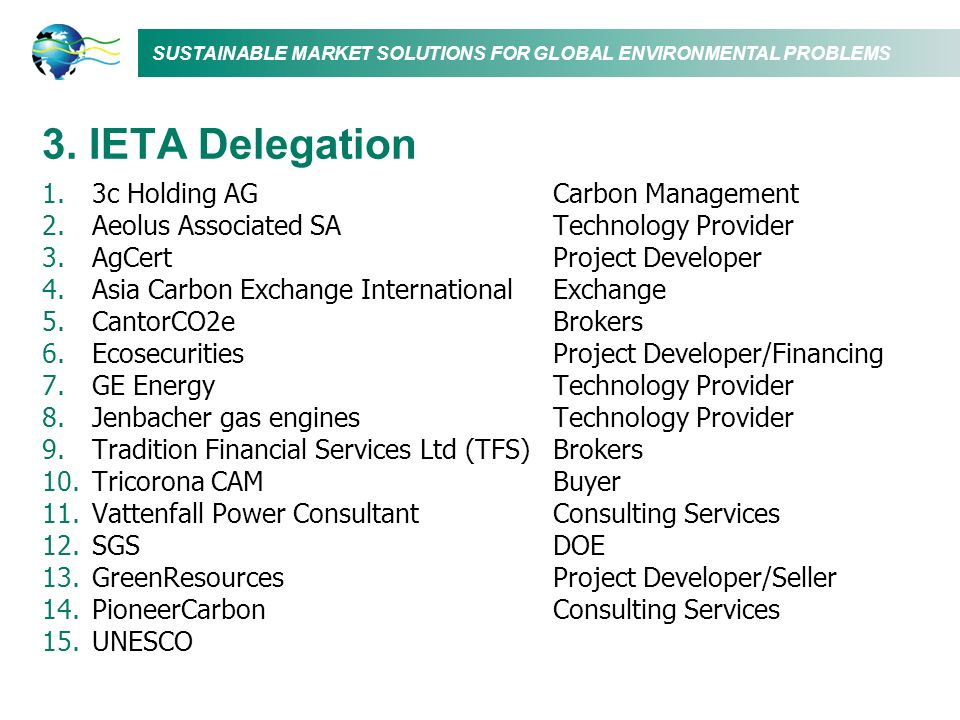 SUSTAINABLE MARKET SOLUTIONS FOR GLOBAL ENVIRONMENTAL PROBLEMS 3.