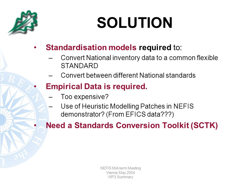 NEFIS Mid-term Meeting Vienna May 2004 WP3 Summary SOLUTION Standardisation models required to: –Convert National inventory data to a common flexible STANDARD –Convert between different National standards Empirical Data is required.