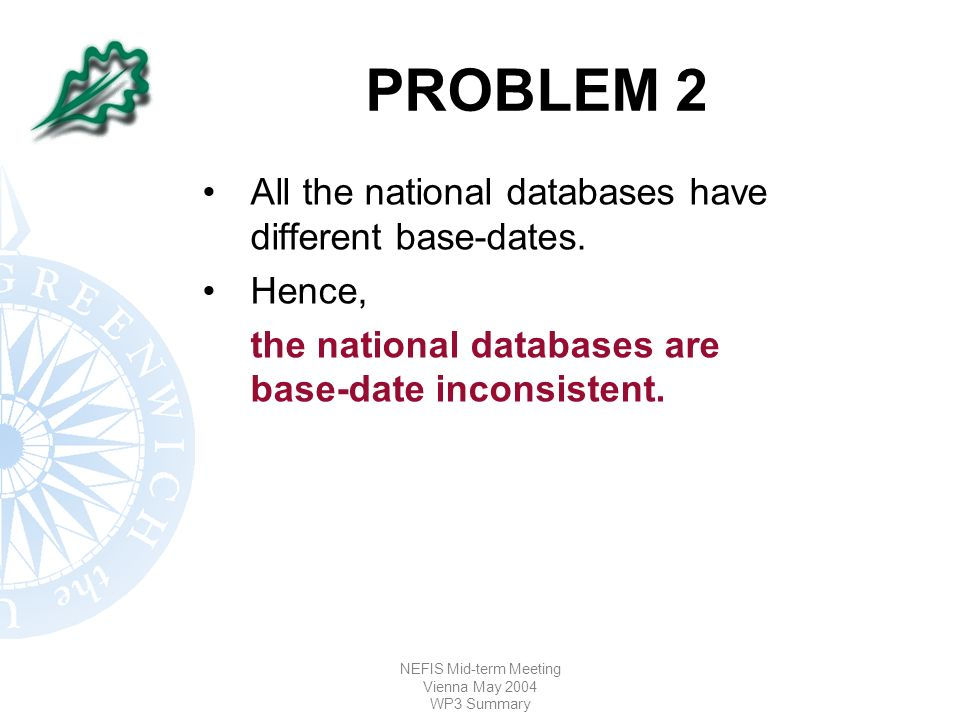 NEFIS Mid-term Meeting Vienna May 2004 WP3 Summary PROBLEM 2 All the national databases have different base-dates.