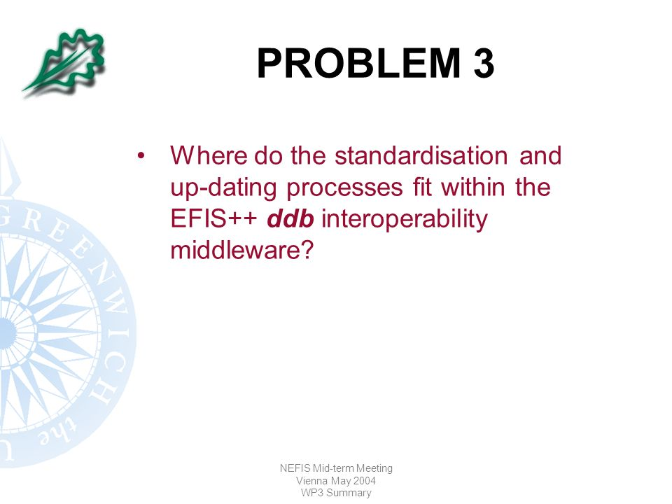 NEFIS Mid-term Meeting Vienna May 2004 WP3 Summary PROBLEM 3 Where do the standardisation and up-dating processes fit within the EFIS++ ddb interoperability middleware?