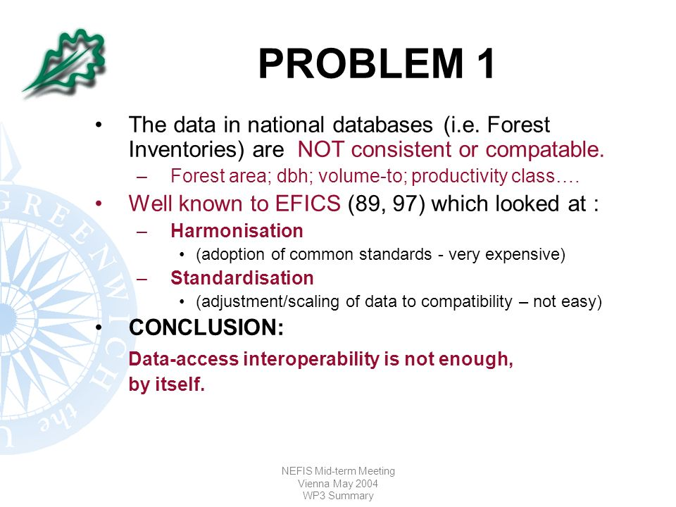 NEFIS Mid-term Meeting Vienna May 2004 WP3 Summary PROBLEM 1 The data in national databases (i.e.