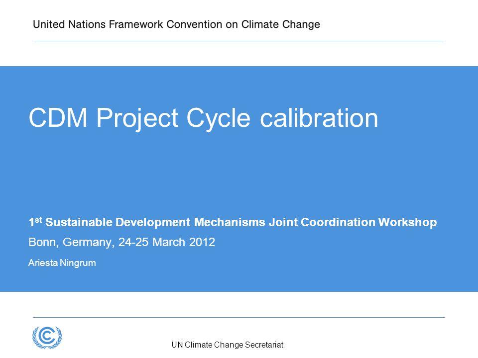 UN Climate Change Secretariat CDM Project Cycle calibration 1 st Sustainable Development Mechanisms Joint Coordination Workshop Bonn, Germany, 24-25 M