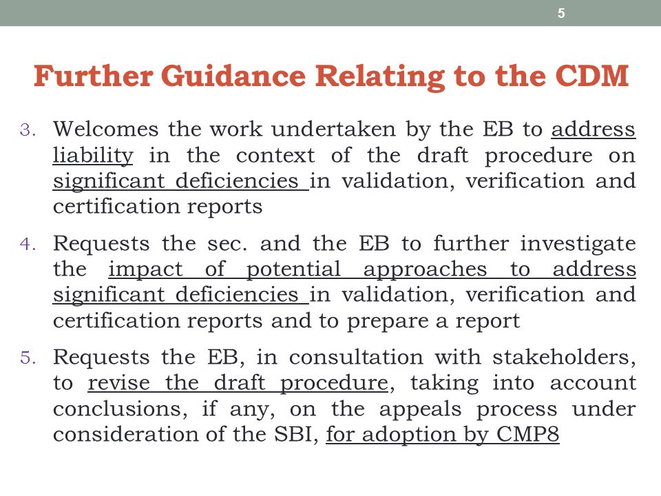 Further Guidance Relating to the CDM 6.