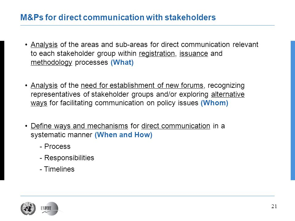 21 Analysis of the areas and sub-areas for direct communication relevant to each stakeholder group within registration, issuance and methodology proce