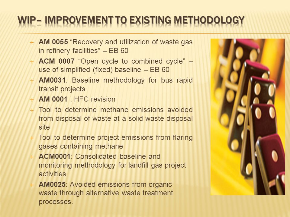 AM 0055 Recovery and utilization of waste gas in refinery facilities – EB 60 ACM 0007 Open cycle to combined cycle – use of simplified (fixed) baseline – EB 60 AM0031: Baseline methodology for bus rapid transit projects AM 0001 : HFC revision Tool to determine methane emissions avoided from disposal of waste at a solid waste disposal site Tool to determine project emissions from flaring gases containing methane ACM0001: Consolidated baseline and monitoring methodology for landfill gas project activities.