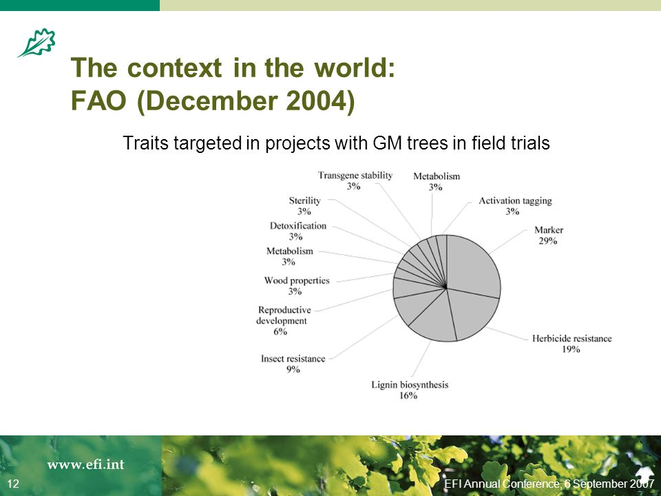 EFI Annual Conference, 6 September 200712 The context in the world: FAO (December 2004) Traits targeted in projects with GM trees in field trials