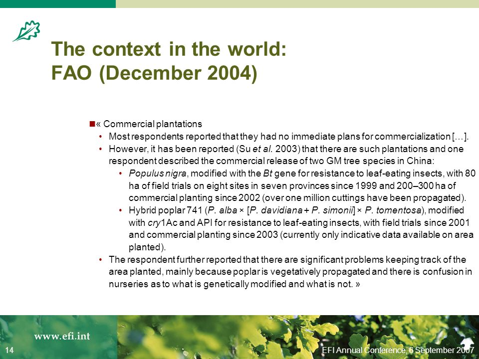 EFI Annual Conference, 6 September 200714 The context in the world: FAO (December 2004) « Commercial plantations Most respondents reported that they had no immediate plans for commercialization […].