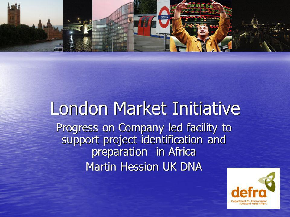 London Market Initiative Progress on Company led facility to support project identification and preparation in Africa Martin Hession UK DNA