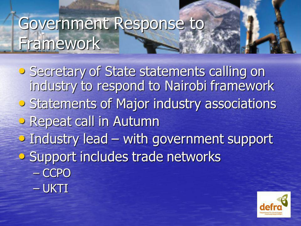 Government Response to Framework Secretary of State statements calling on industry to respond to Nairobi framework Secretary of State statements calling on industry to respond to Nairobi framework Statements of Major industry associations Statements of Major industry associations Repeat call in Autumn Repeat call in Autumn Industry lead – with government support Industry lead – with government support Support includes trade networks Support includes trade networks –CCPO –UKTI