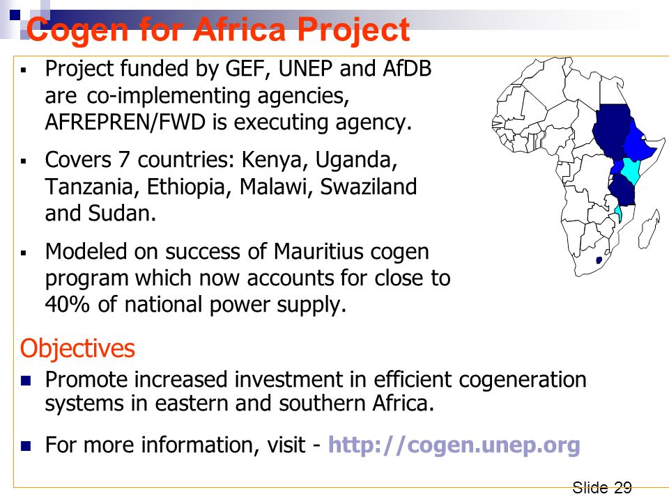 Slide 29 Cogen for Africa Project Project funded by GEF, UNEP and AfDB are co-implementing agencies, AFREPREN/FWD is executing agency.