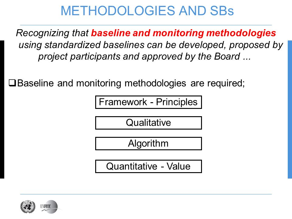 METHODOLOGIES AND SBs Recognizing that baseline and monitoring methodologies using standardized baselines can be developed, proposed by project participants and approved by the Board...