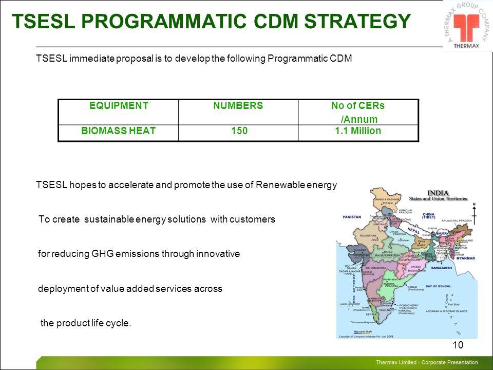 Thermax Limited – Corporate Presentation 10 TSESL PROGRAMMATIC CDM STRATEGY TSESL immediate proposal is to develop the following Programmatic CDM TSES