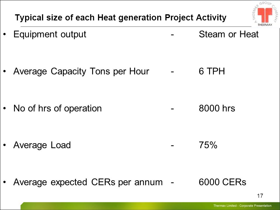 Thermax Limited – Corporate Presentation 17 Typical size of each Heat generation Project Activity Equipment output -Steam or Heat Average Capacity Ton