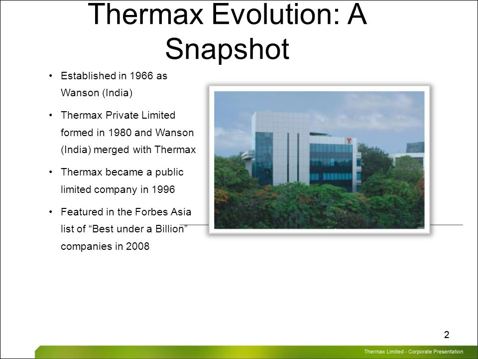 Thermax Limited – Corporate Presentation 22 Thermax Evolution: A Snapshot Established in 1966 as Wanson (India) Thermax Private Limited formed in 1980
