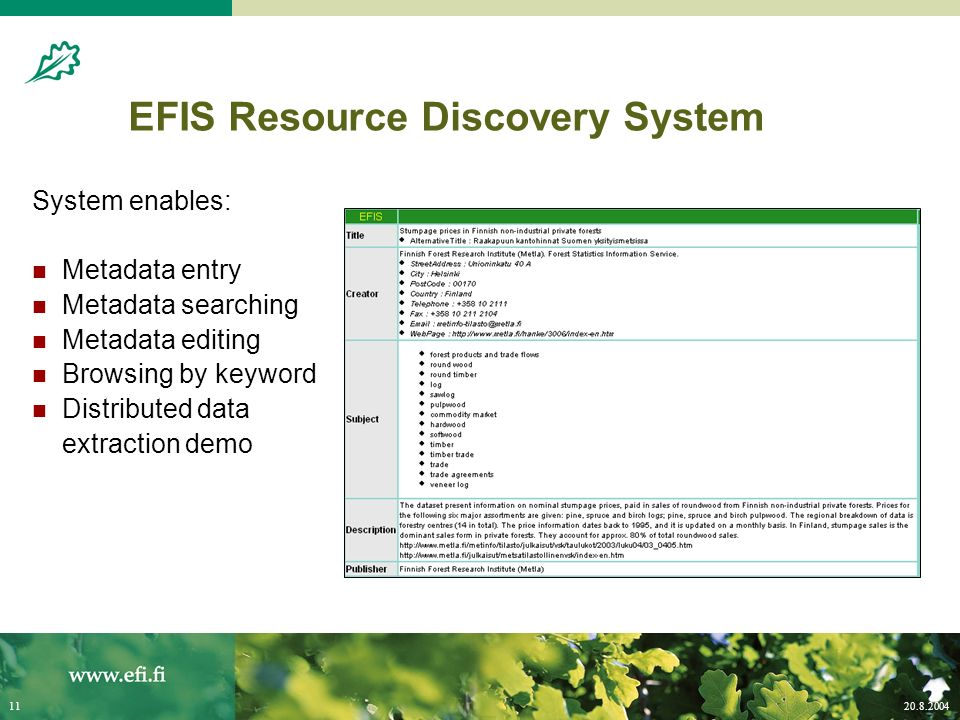 20.8.200411 EFIS Resource Discovery System System enables: Metadata entry Metadata searching Metadata editing Browsing by keyword Distributed data extraction demo