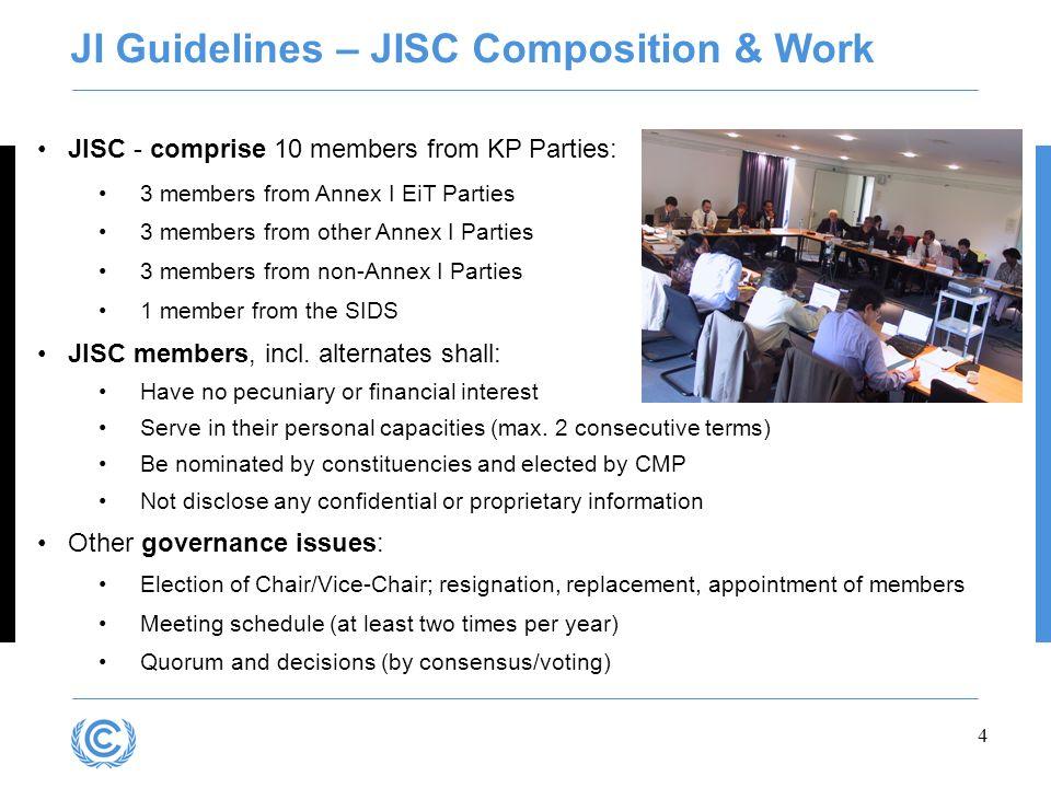 4 JISC - comprise 10 members from KP Parties: 3 members from Annex I EiT Parties 3 members from other Annex I Parties 3 members from non-Annex I Parti