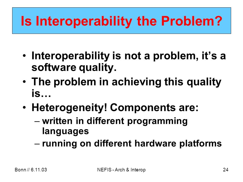Bonn // NEFIS - Arch & Interop24 Is Interoperability the Problem.