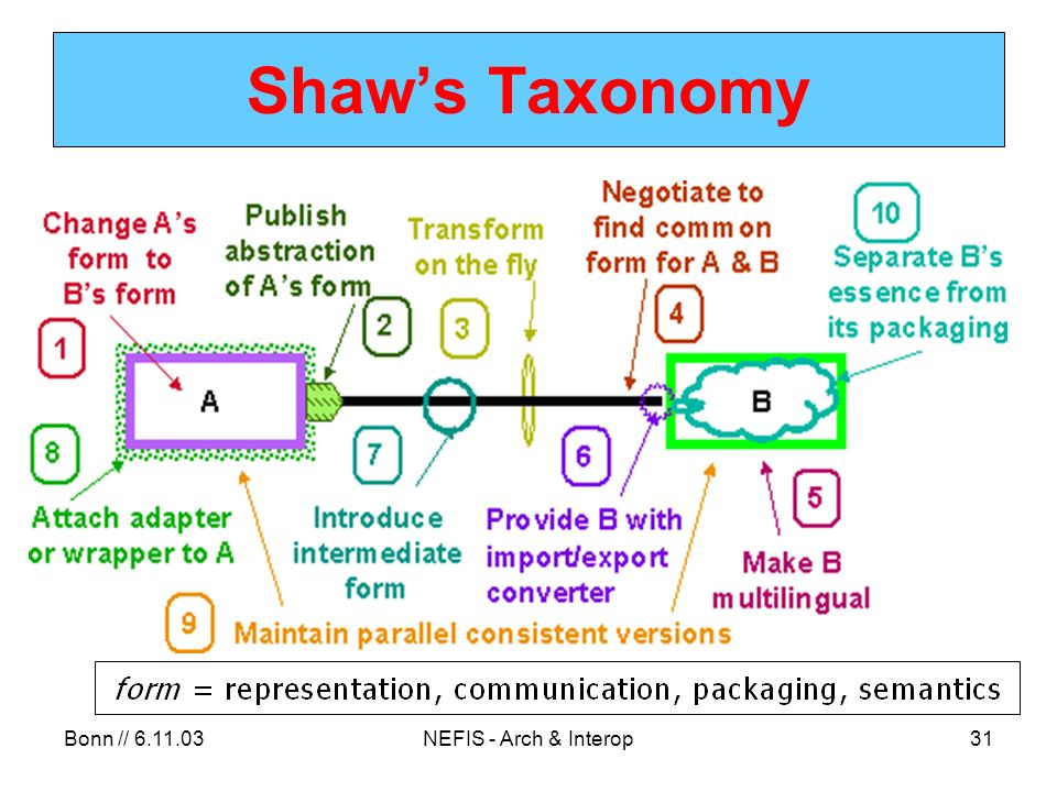 Bonn // 6.11.03NEFIS - Arch & Interop31 Shaws Taxonomy