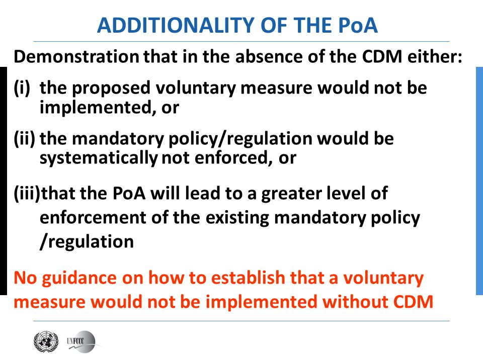 Demonstration that in the absence of the CDM either: (i)the proposed voluntary measure would not be implemented, or (ii)the mandatory policy/regulatio