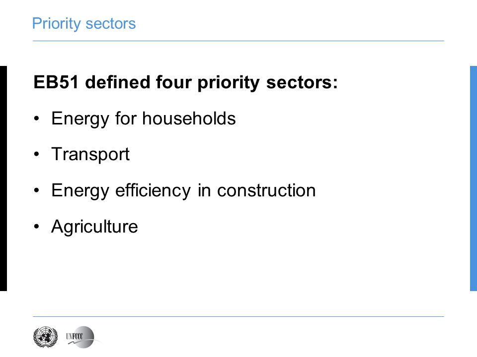 Priority sectors EB51 defined four priority sectors: Energy for households Transport Energy efficiency in construction Agriculture