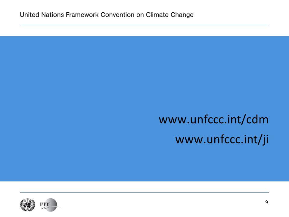 9 www.unfccc.int/cdm www.unfccc.int/ji