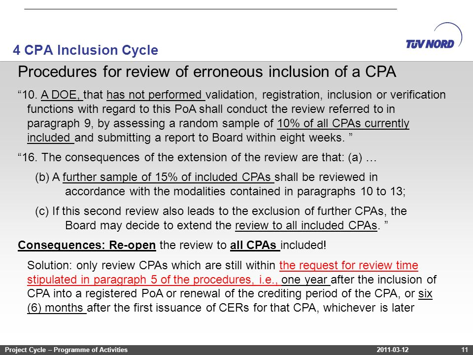 2011-03-12Project Cycle – Programme of Activities 4 CPA Inclusion Cycle 2011-03-12Project Cycle – Programme of Activities11 Procedures for review of erroneous inclusion of a CPA 10.