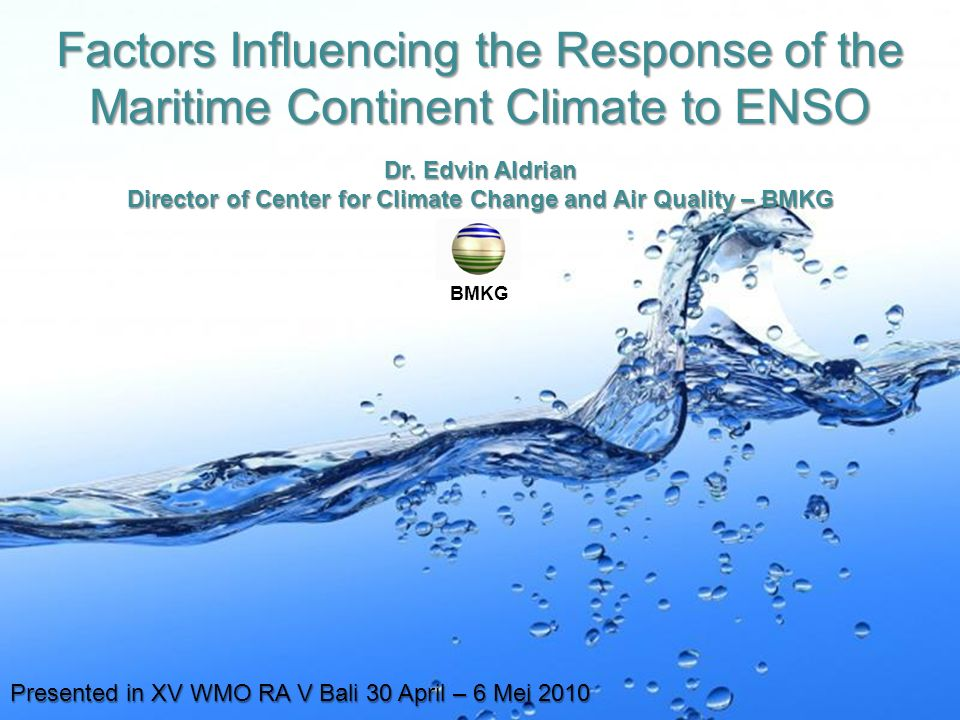 Page 1 Factors Influencing the Response of the Maritime Continent Climate to ENSO Dr.
