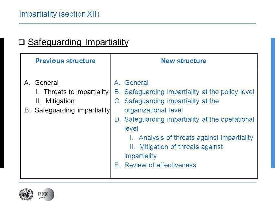 Safeguarding Impartiality Impartiality shall be addressed at the level of: Policy; Organizational; and Operational AE/DOE shall implement mitigation actions against identified risks to impartiality through, inter alia: Prohibition; Restrictions; Disclosures
