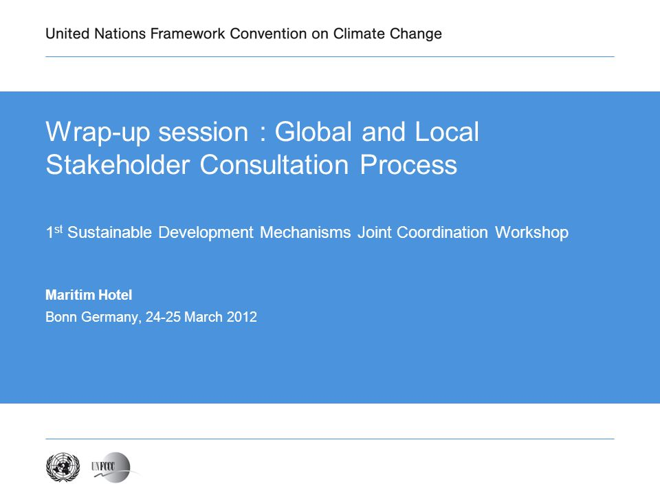 Wrap-up session : Global and Local Stakeholder Consultation Process 1 st Sustainable Development Mechanisms Joint Coordination Workshop Maritim Hotel