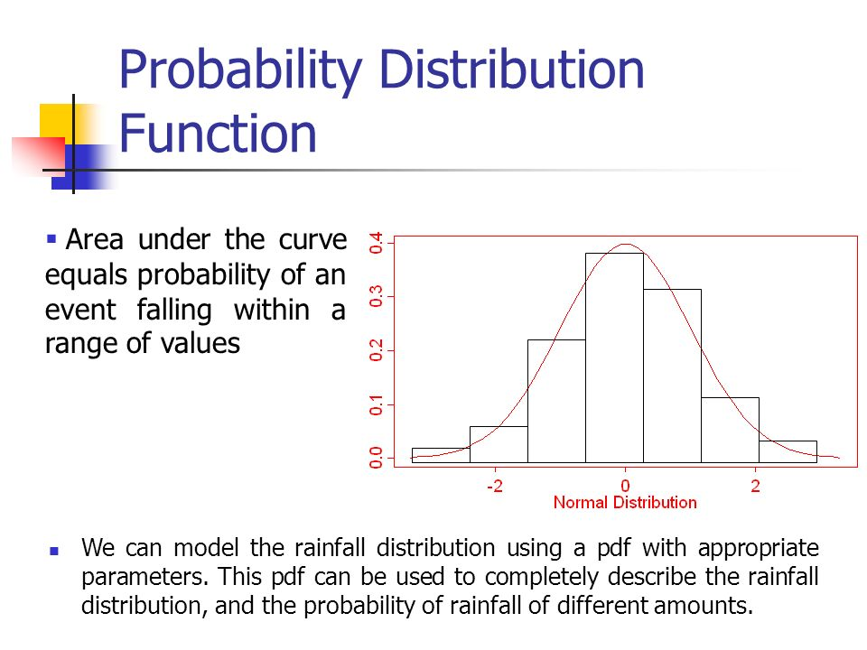 Probability Distribution Function Area under the curve equals probability of an event falling within a range of values We can model the rainfall distribution using a pdf with appropriate parameters.