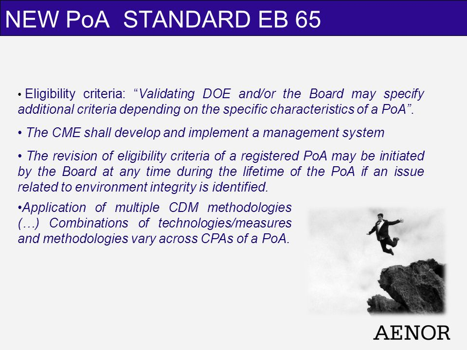 NEW PoA STANDARD EB 65 Eligibility criteria: Validating DOE and/or the Board may specify additional criteria depending on the specific characteristics of a PoA.