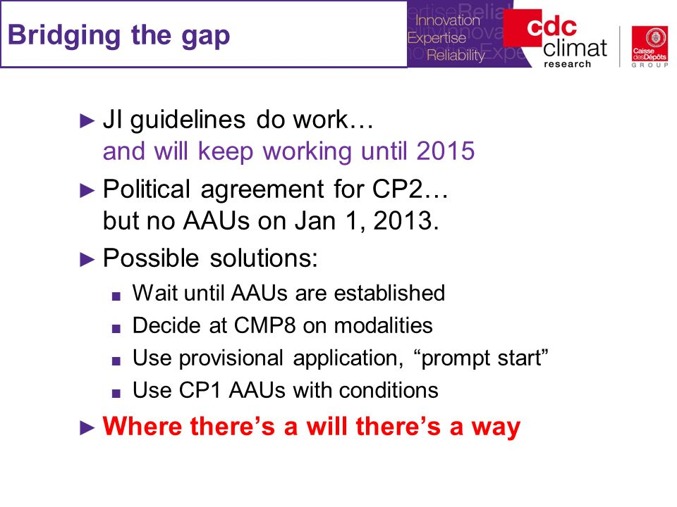 Bridging the gap JI guidelines do work… and will keep working until 2015 Political agreement for CP2… but no AAUs on Jan 1, 2013. Possible solutions: