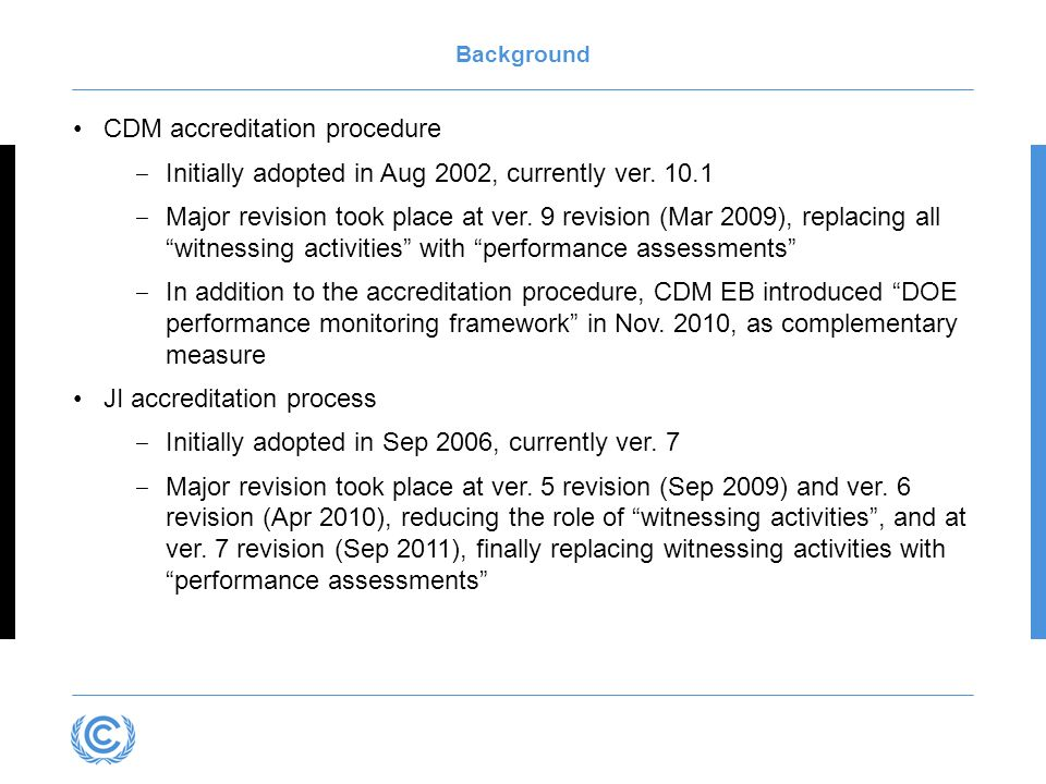 Background CDM accreditation procedure Initially adopted in Aug 2002, currently ver.