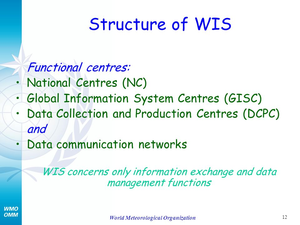 12 World Meteorological Organization Structure of WIS Functional centres: National Centres (NC) Global Information System Centres (GISC) Data Collection and Production Centres (DCPC) and Data communication networks WIS concerns only information exchange and data management functions
