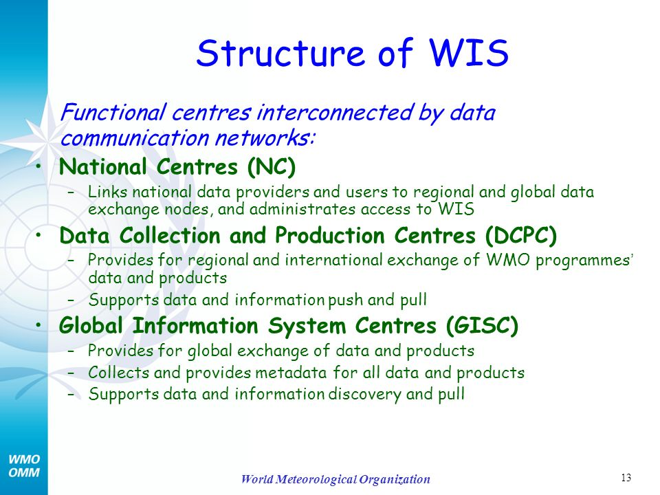 13 World Meteorological Organization Structure of WIS Functional centres interconnected by data communication networks: National Centres (NC) –Links national data providers and users to regional and global data exchange nodes, and administrates access to WIS Data Collection and Production Centres (DCPC) –Provides for regional and international exchange of WMO programmes data and products –Supports data and information push and pull Global Information System Centres (GISC) –Provides for global exchange of data and products –Collects and provides metadata for all data and products –Supports data and information discovery and pull