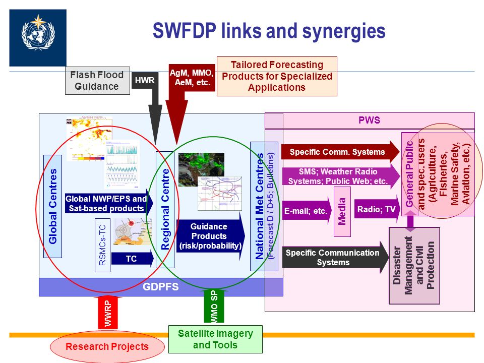 SWFDP links and synergies Regional Centre Global Centres RSMCs-TC Global NWP/EPS and Sat-based products TC Guidance Products (risk/probability) GDPFS