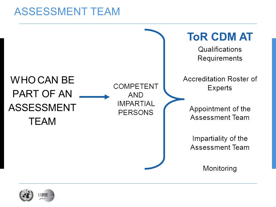 ASSESSMENT TEAM WHO CAN BE PART OF AN ASSESSMENT TEAM ToR CDM AT Qualifications Requirements Accreditation Roster of Experts Appointment of the Assess