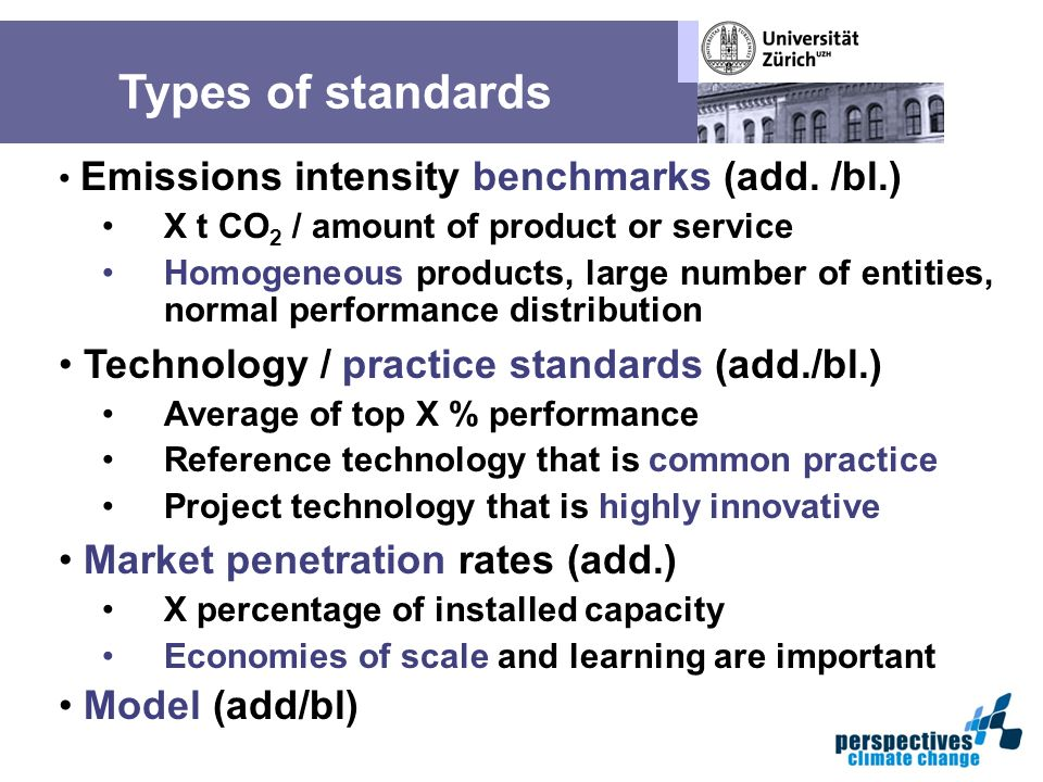 Types of standards Emissions intensity benchmarks (add.