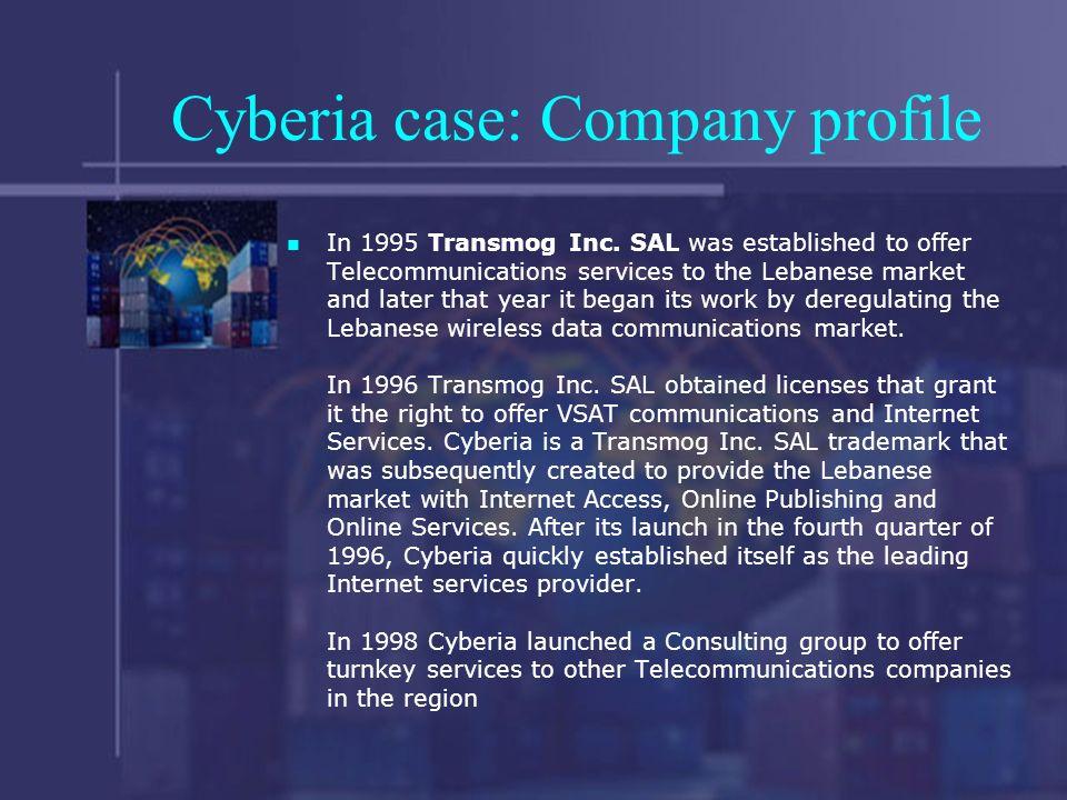 Cyberia case: Company profile In 1995 Transmog Inc.