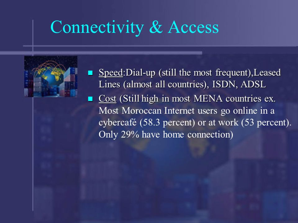 Connectivity & Access Speed:Dial-up (still the most frequent),Leased Lines (almost all countries), ISDN, ADSL Speed:Dial-up (still the most frequent),