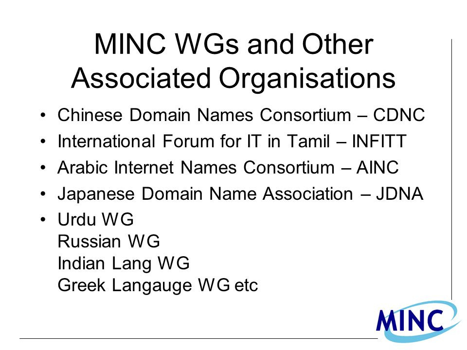 MINC WGs and Other Associated Organisations Chinese Domain Names Consortium – CDNC International Forum for IT in Tamil – INFITT Arabic Internet Names