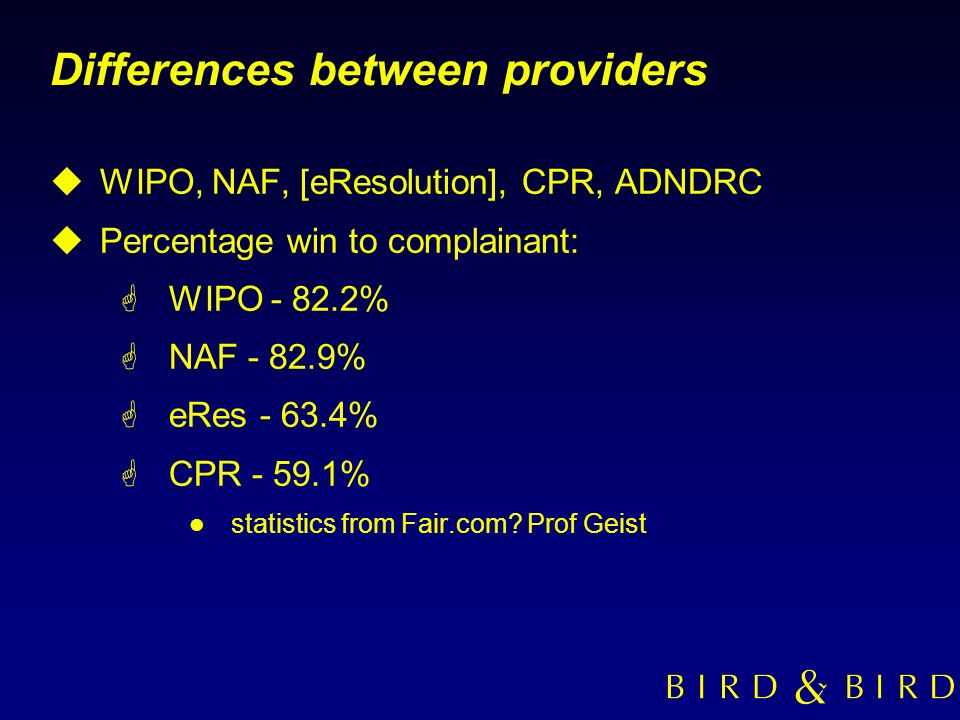 Differences between providers uWIPO, NAF, [eResolution], CPR, ADNDRC uPercentage win to complainant: GWIPO - 82.2% GNAF - 82.9% GeRes - 63.4% GCPR - 5