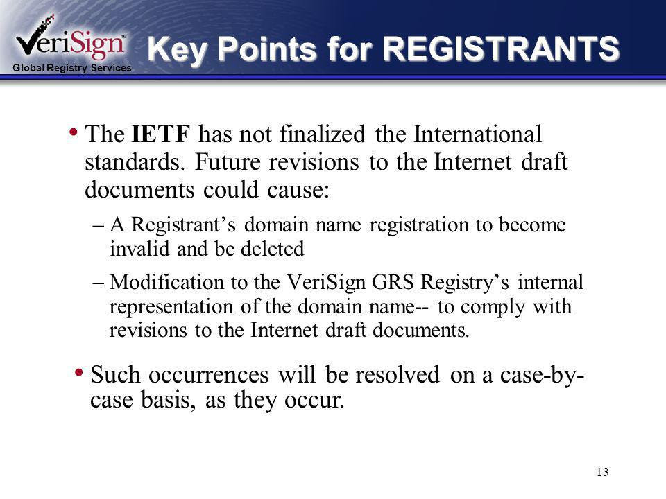 Global Registry Services 12 Key Points for REGISTRANTS The uniqueness of a domain name registration in the testbed is determined by its Unicode representation.