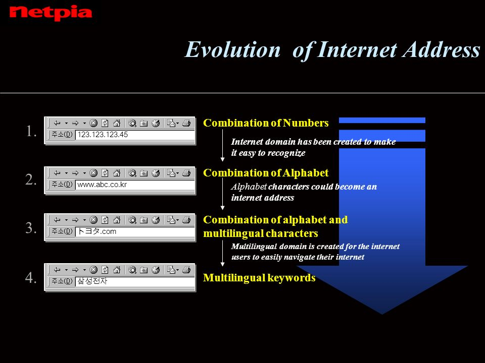 Evolution of Internet Address 1. 123.123.123.45 2.