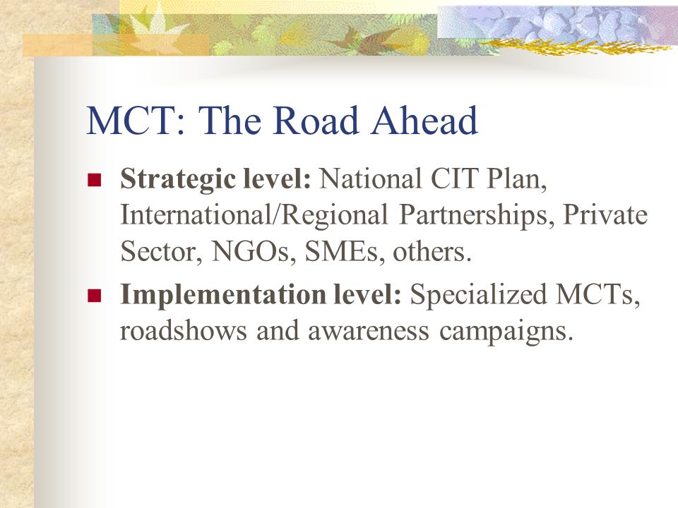 MCT: The Road Ahead Strategic level: National CIT Plan, International/Regional Partnerships, Private Sector, NGOs, SMEs, others.