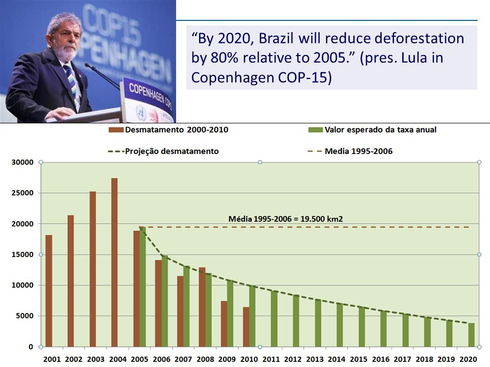 By 2020, Brazil will reduce deforestation by 80% relative to 2005.