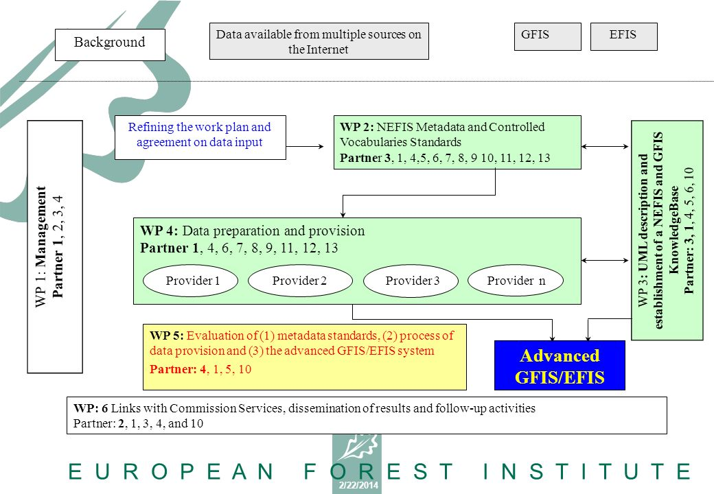 2/22/2014 E U R O P E A N F O R E S T I N S T I T U T E WP 1: Management Partner 1, 2, 3, 4 Data available from multiple sources on the Internet GFISEFIS WP 3: UML description and establishment of a NEFIS and GFIS KnowledgeBase Partner: 3, 1, 4, 5, 6, 10 Refining the work plan and agreement on data input WP 2: NEFIS Metadata and Controlled Vocabularies Standards Partner 3, 1, 4,5, 6, 7, 8, 9 10, 11, 12, 13 WP 4: Data preparation and provision Partner 1, 4, 6, 7, 8, 9, 11, 12, 13 WP 5: Evaluation of (1) metadata standards, (2) process of data provision and (3) the advanced GFIS/EFIS system Partner: 4, 1, 5, 10 Advanced GFIS/EFIS WP: 6 Links with Commission Services, dissemination of results and follow-up activities Partner: 2, 1, 3, 4, and 10 Background Provider 1 Provider 2Provider 3Provider n