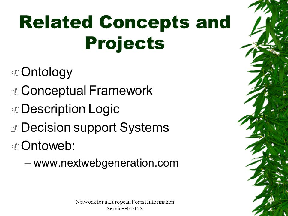 Network for a European Forest Information Service -NEFIS Related Concepts and Projects Ontology Conceptual Framework Description Logic Decision suppor