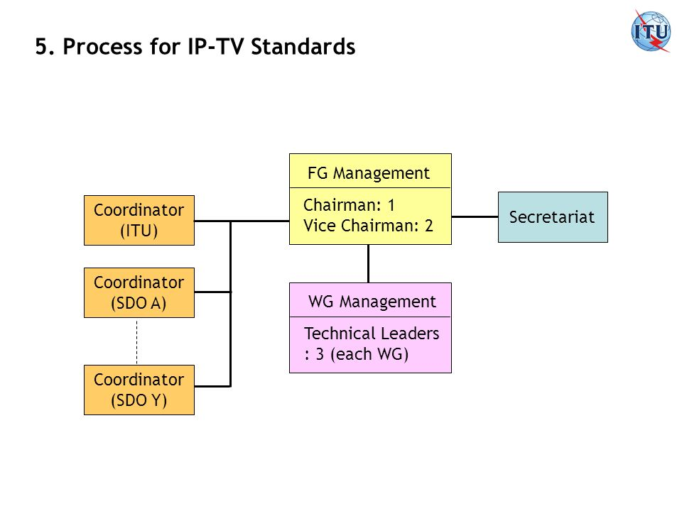 5. Process for IP-TV Standards FG Management Chairman: 1 Vice Chairman: 2 WG Management Technical Leaders : 3 (each WG) Secretariat Coordinator (ITU)